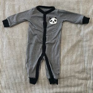 Panda Button Up Baby Pajamas